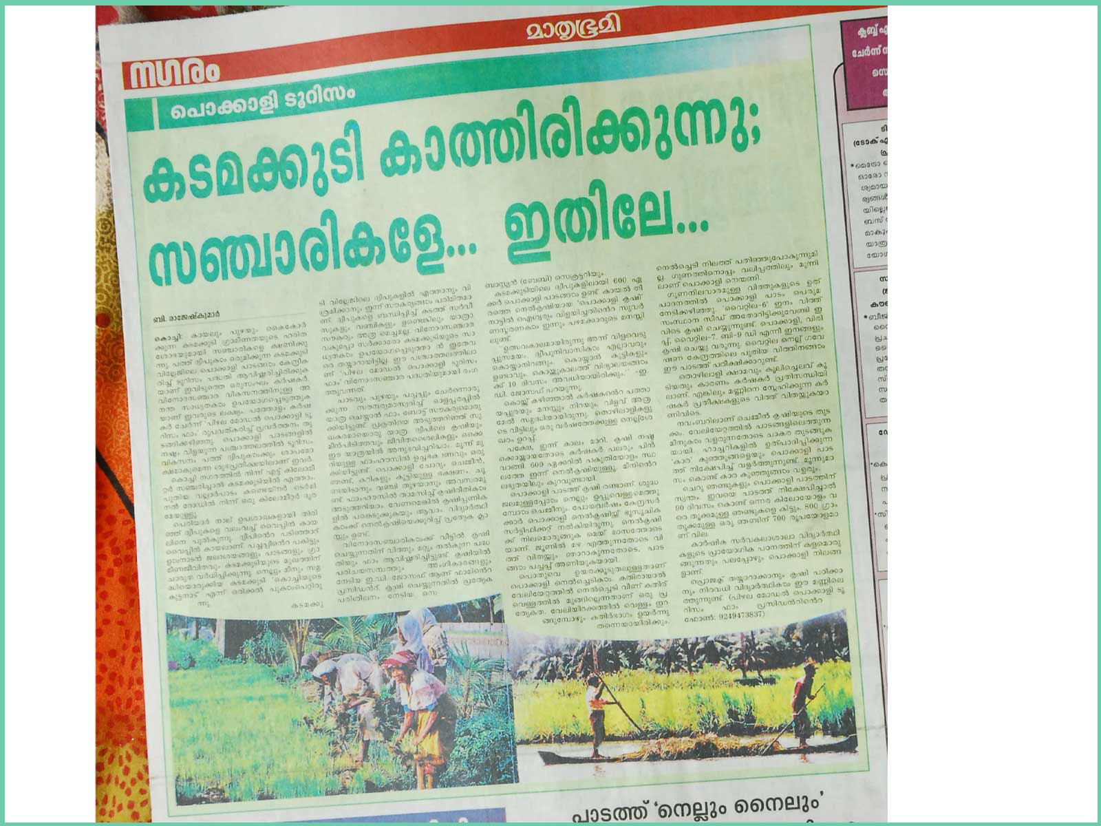 pizhala_pokkali_tourism_in_mathrubhumi_paper